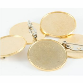 Premium badge round 30mm gold pin clasp & clear dome